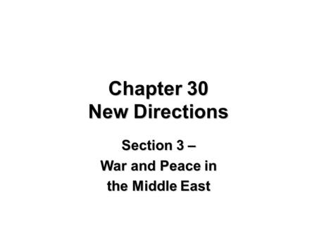 CRISIS AND CONFLICT: Middle East and North Africa There is