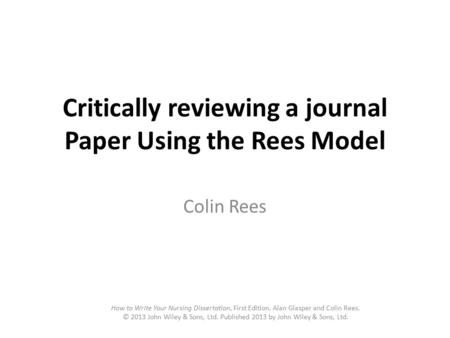 Critically Review An Academic Journal Article A Sample