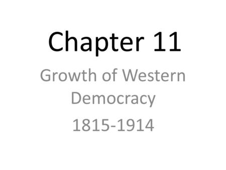 An Age of Democracy and Progress (1815