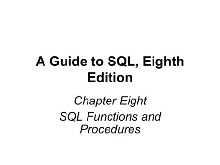 DB2 and SQL. Agenda: –Why use SQL?