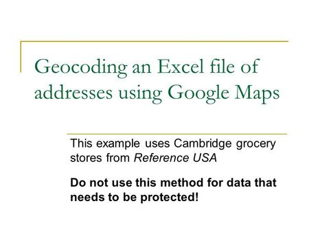 Lab 6: Converting ArcMap files to Google Compatible Files Steps: 1 ...