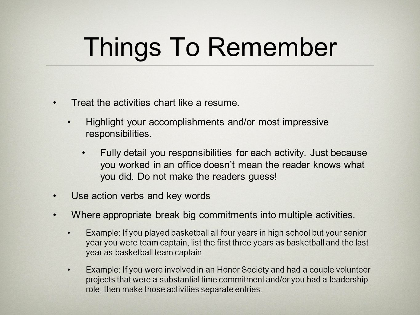 Things Not To Do On A Resume Preparing Resumes And Student Activity Charts Ppt Video