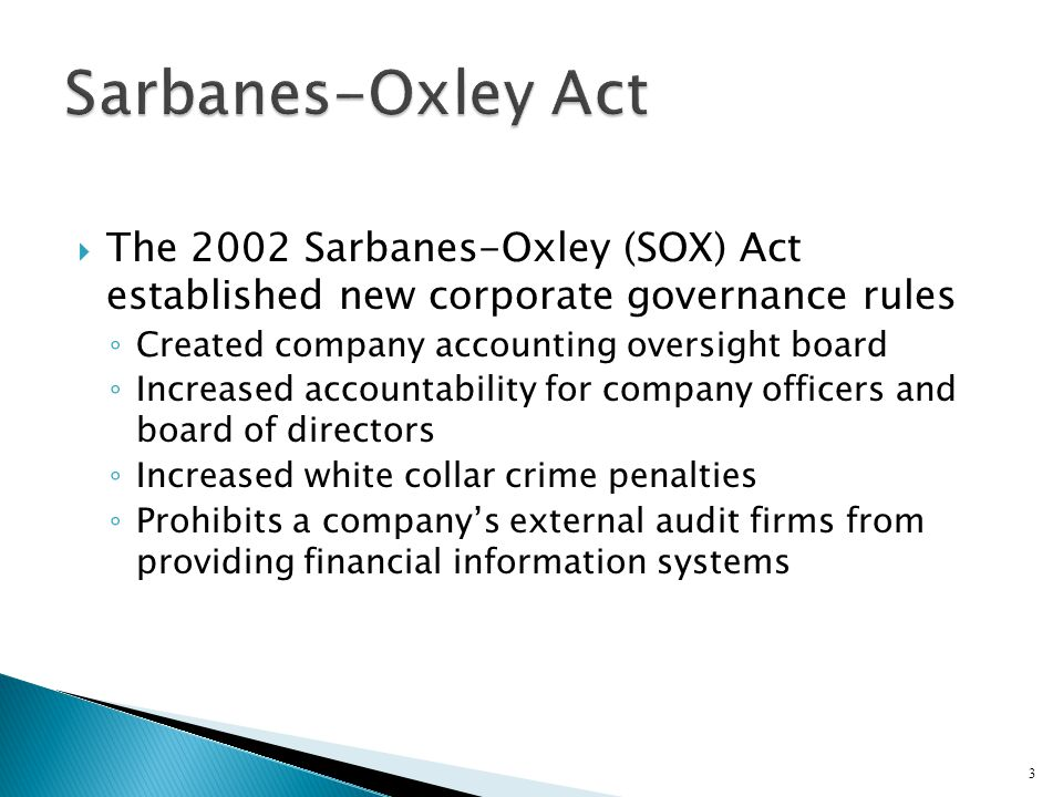 IT Controls Part I SarbanesOxley  IT Governance  ppt