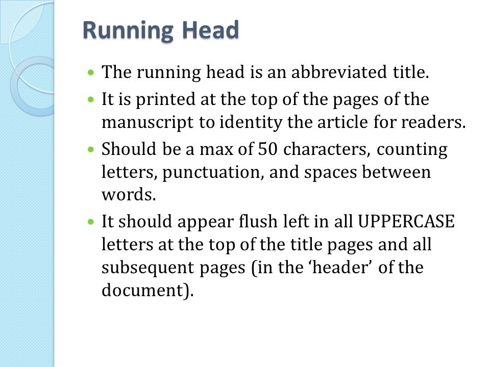 APA Manuscript Elements Ppt Video Online Download
