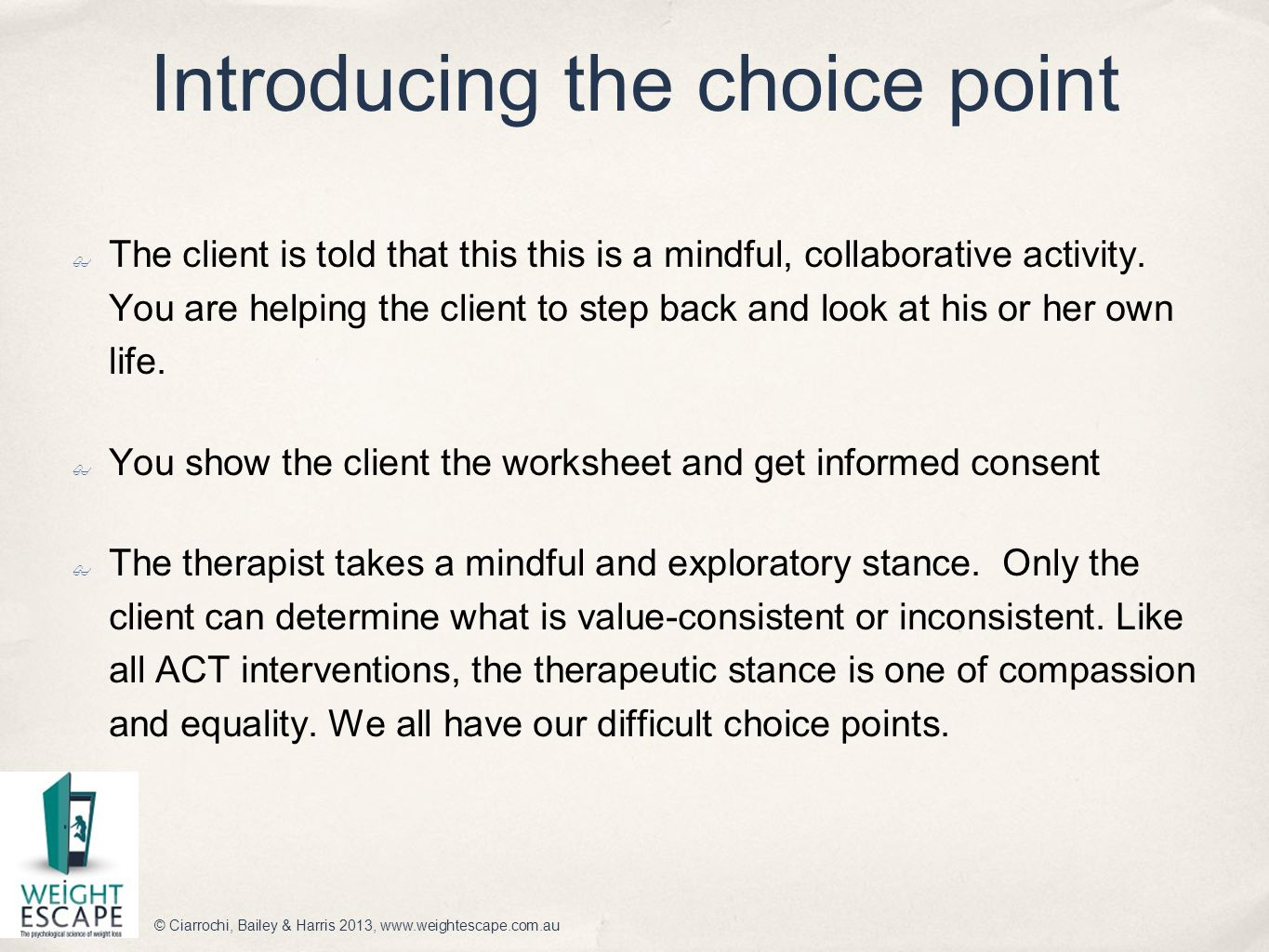 The Choice Point Model An Introduction
