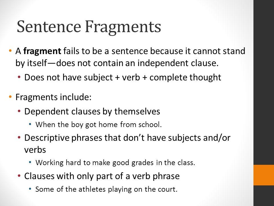 sentence fragment example