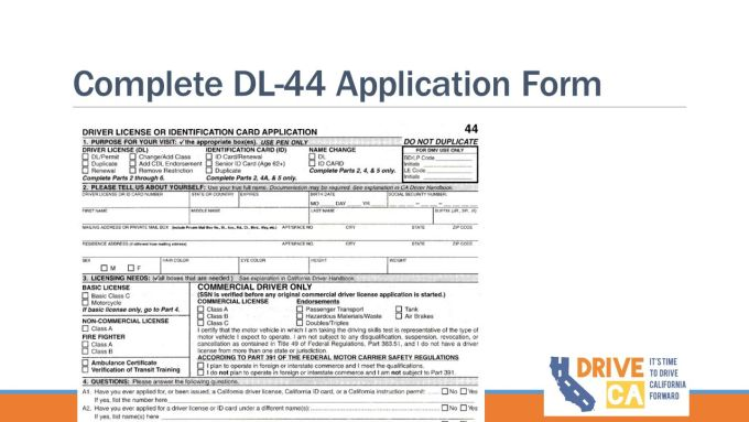 Ca Driver License Or Identification Card Application Dl 44