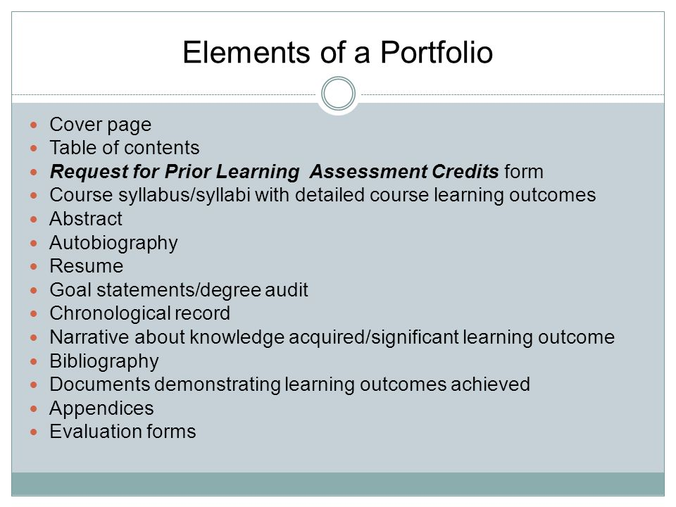 POLK STATE COLLEGE PRIOR LEARNING ASSESSMENT PORTFOLIO