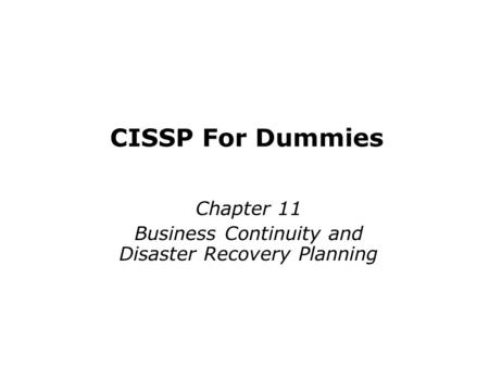 BUSINESS CONTINUITY & DISASTER RECOVERY SZABIST