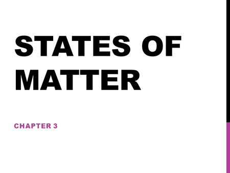 States of Matter 3-1 Solids, liquids and gases Materials