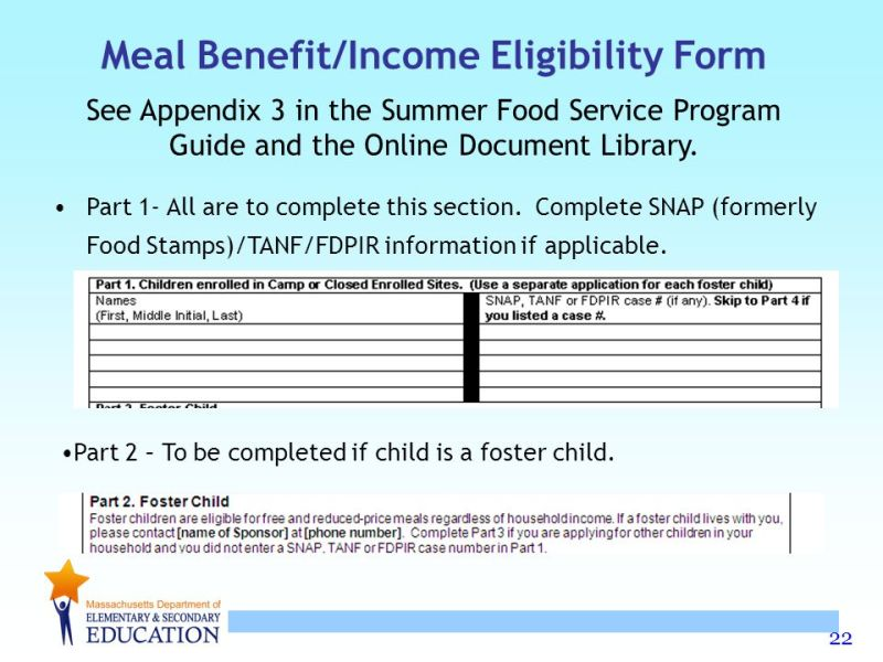 Income limits for food stamps in massachusetts foodfash summer food service program training ppt online meal benefit income eligibility form ccuart Images