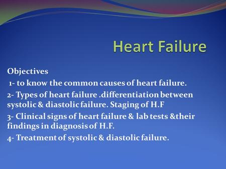 Heart Failure Etiology And Diagnosis Ppt Download