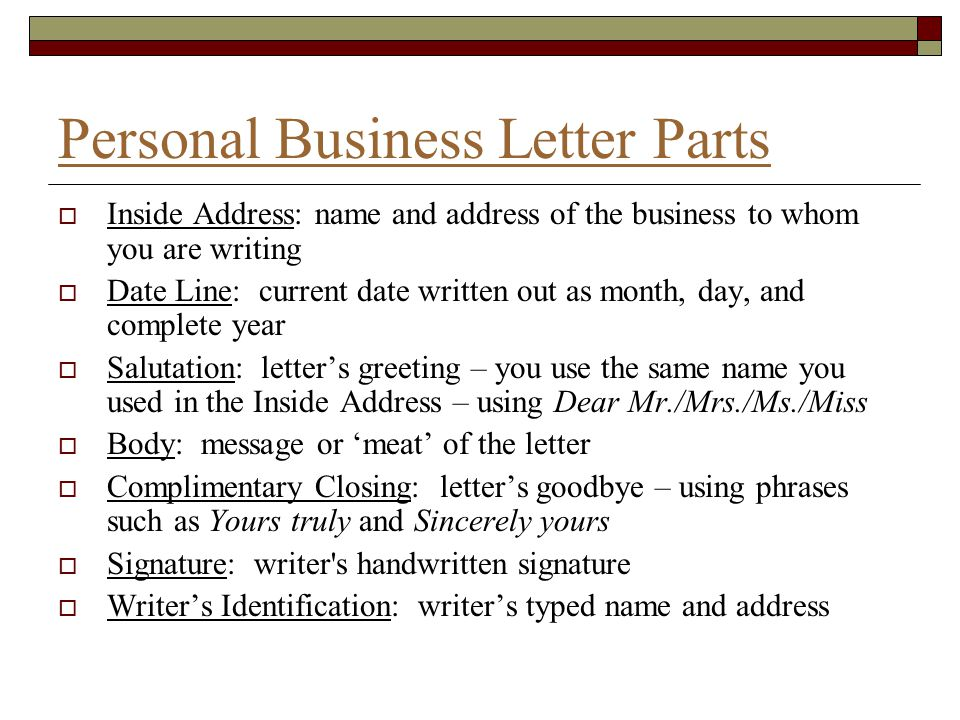 Personal Business Letters and Common documents  ppt video online download