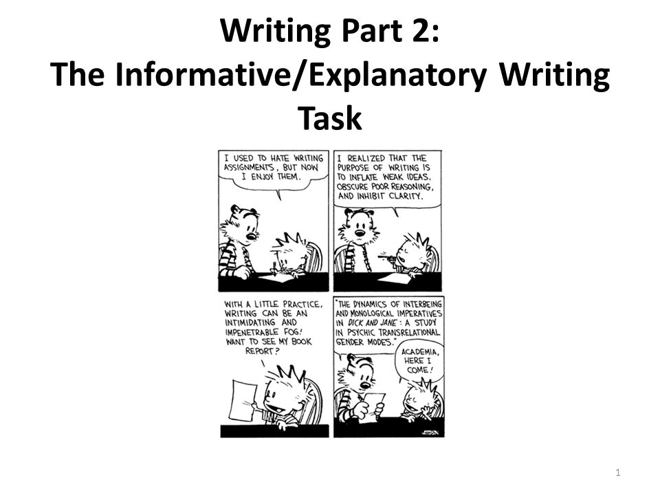 Writing Part 2: The Informative/Explanatory Writing Task