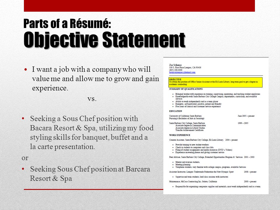 A Résumé Workshop For Culinary Arts Students Ppt Download