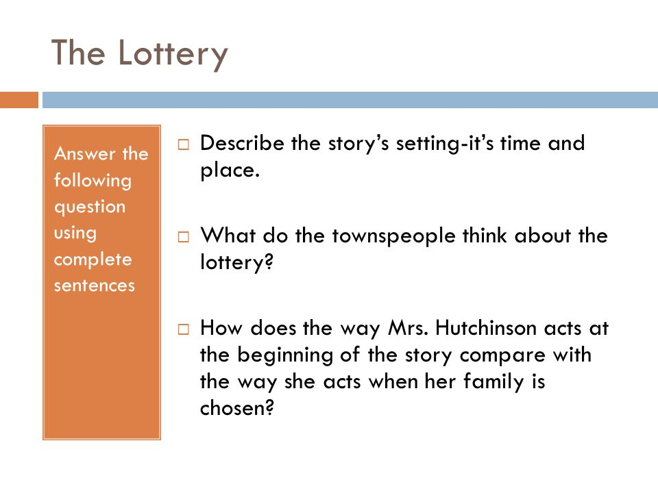 Thank You Ma'am The Lottery Ppt Video Online Download