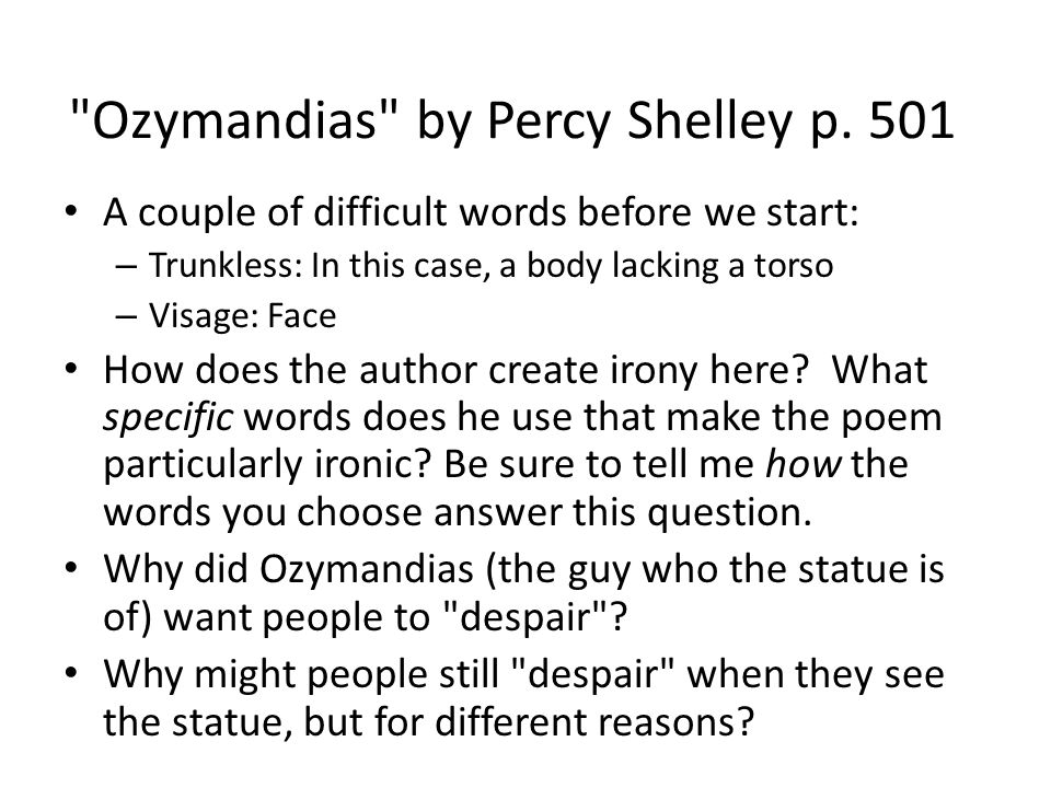 """Ozymandias"" And Irony Ppt Download"