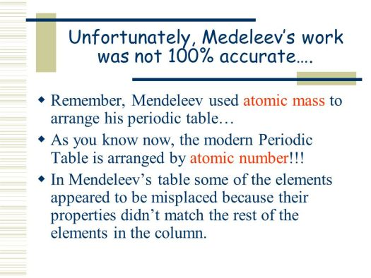 Who arranged the periodic table by atomic number and properties atomic mass to arrange his classification of elements the periodic table ppt online urtaz Gallery