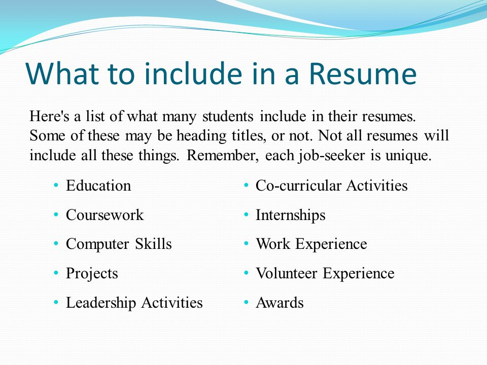 good things to include in a resumes