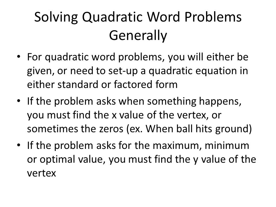 Solving Word Problems Given The Quadratic Equation  Ppt Download