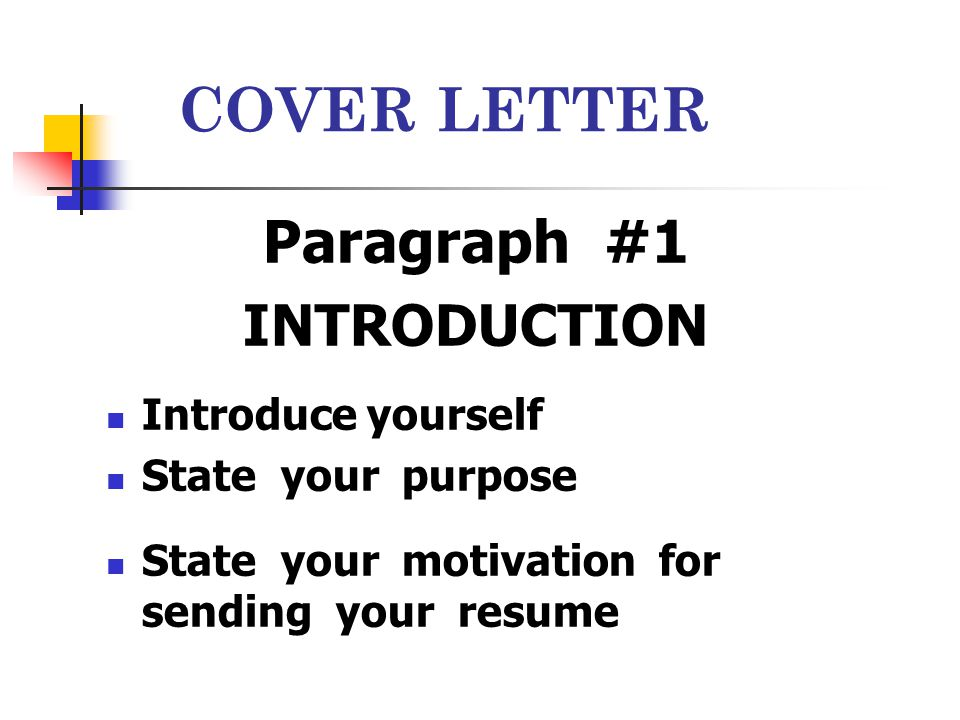 Letter of introduction yourself
