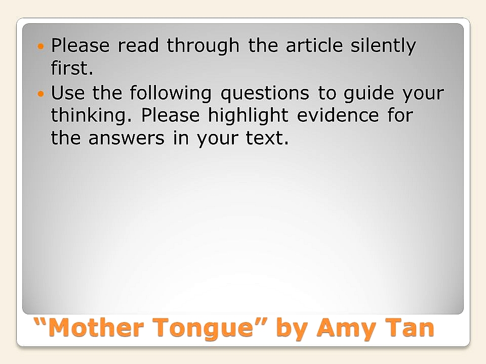 amy tan mother tongue quotes evidence picture coming to america week ppt video online mother tongue by amy tan