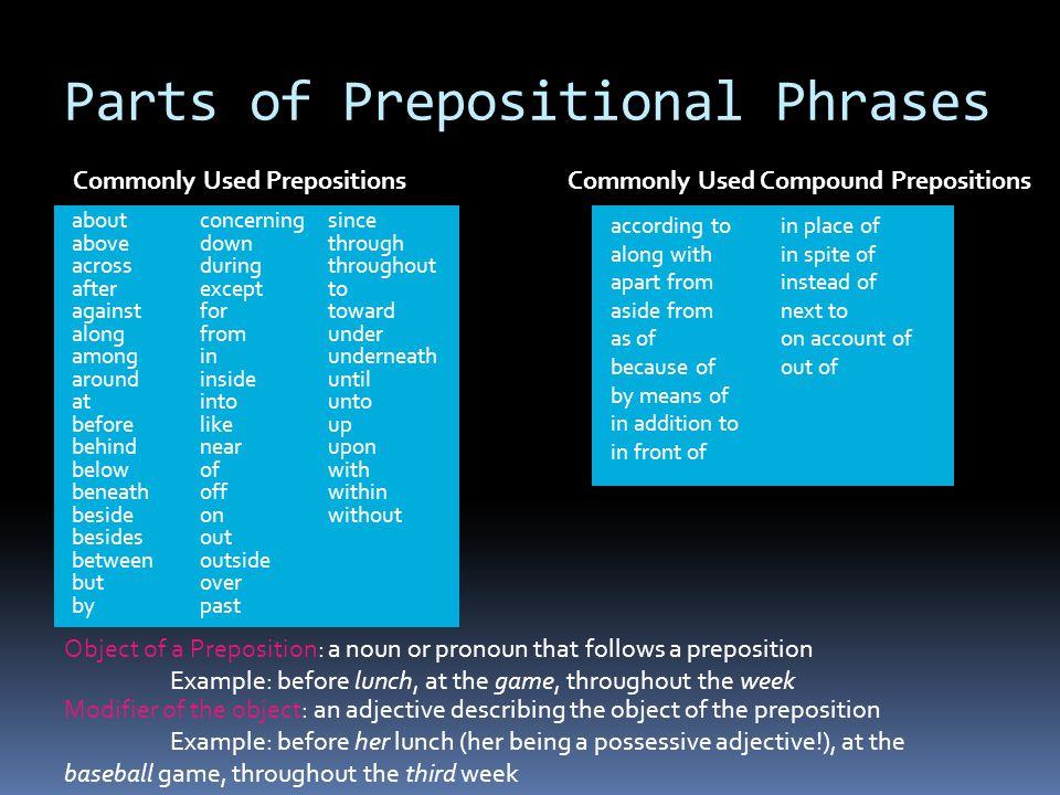 Prepositional Adjective Adverb Participial Gerund