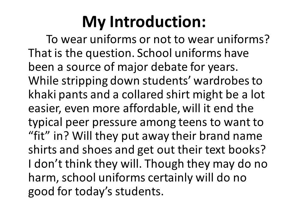 Persuasive essay on school uniforms three reasons
