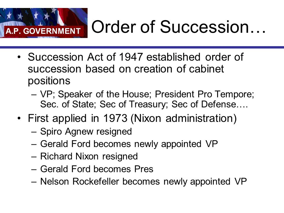 Presidential Cabinet Positions In Order Of Succession ...