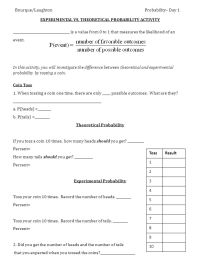 Theoretical And Experimental Probability Worksheet - Kidz ...