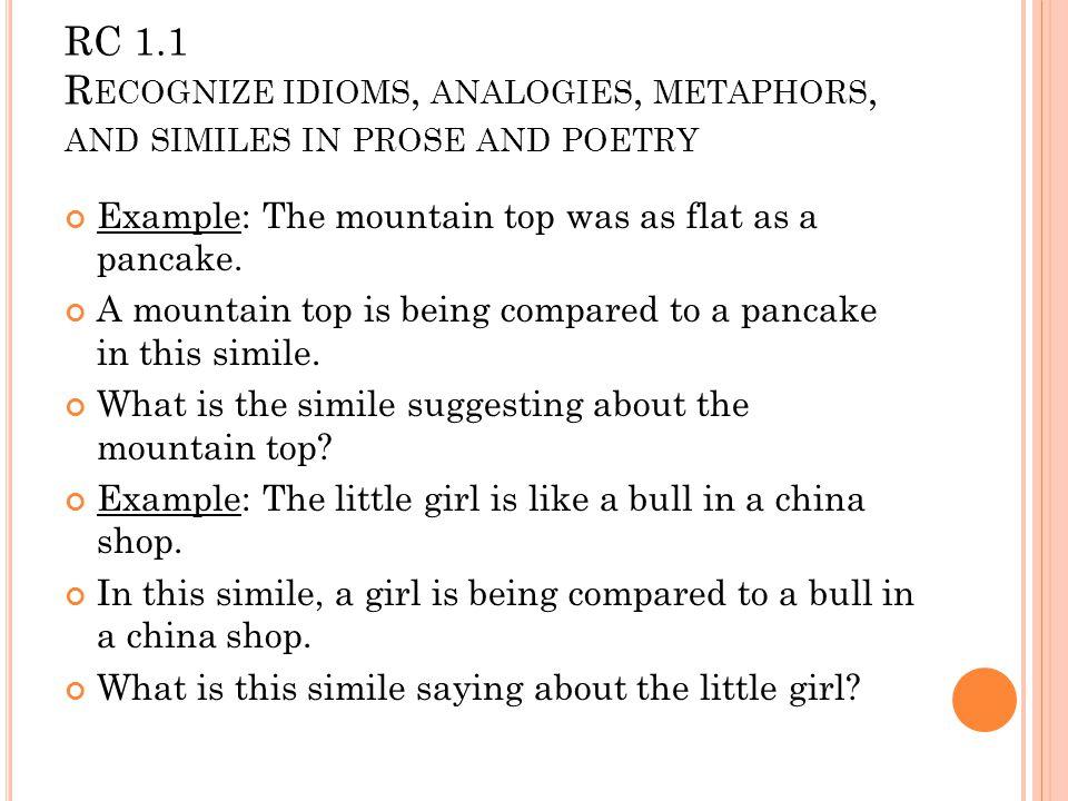 RWA 1 1 Recognize Idioms Analogies Metaphors And