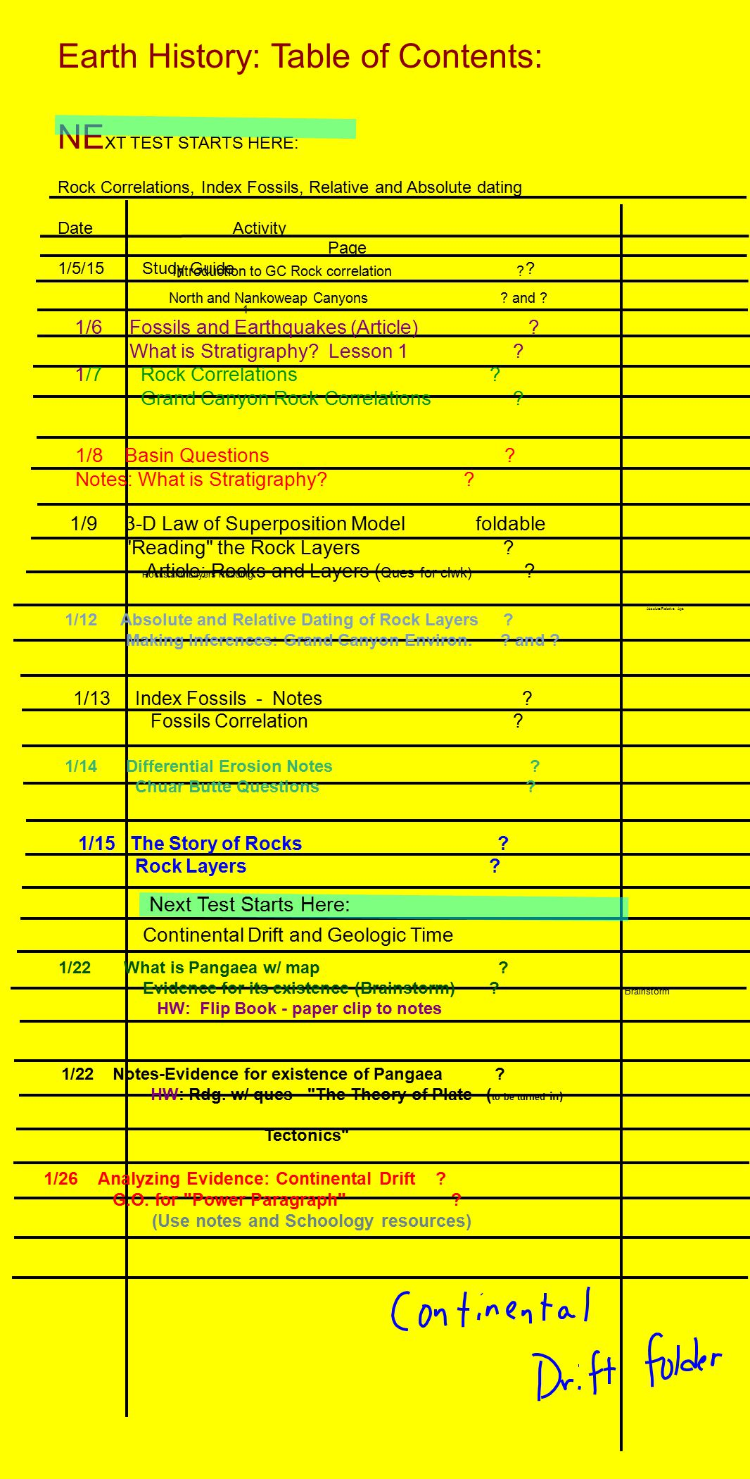 Earth History Table Of Contents Next Test Starts Here