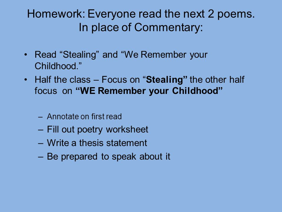 Imagery Poems About Homework