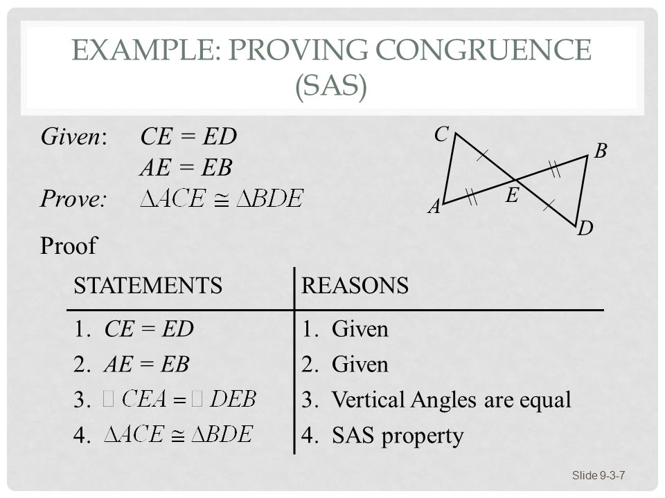 Section 9-3 The Geometry of Triangles: Congruence