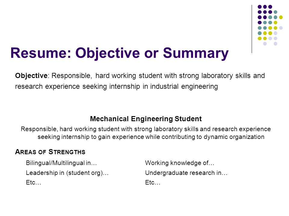 resume for first job objective