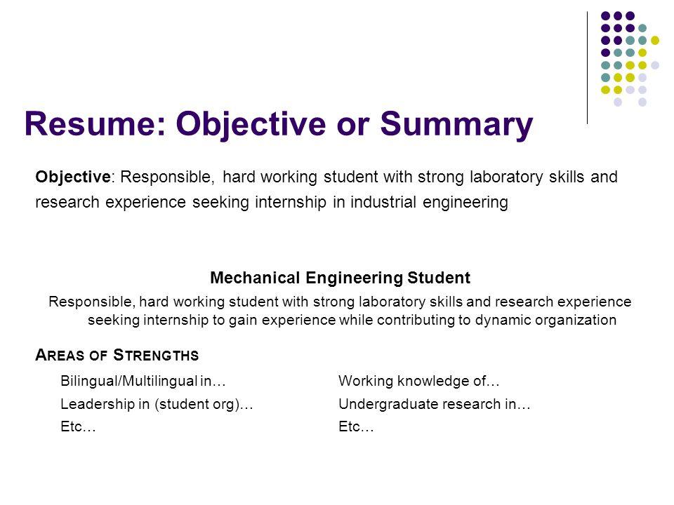 strong resume summary
