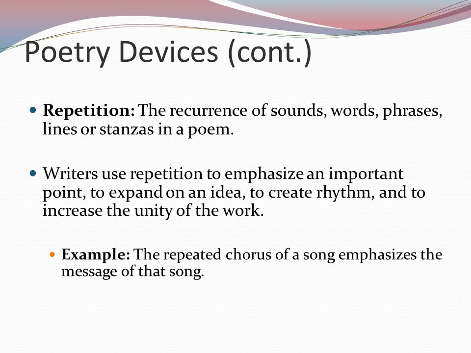 Poetry Devices Structure And Forms Ppt Download