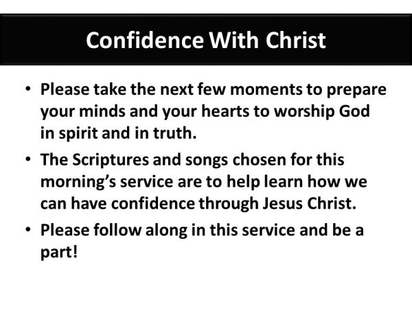 Confidence With Christ ppt download