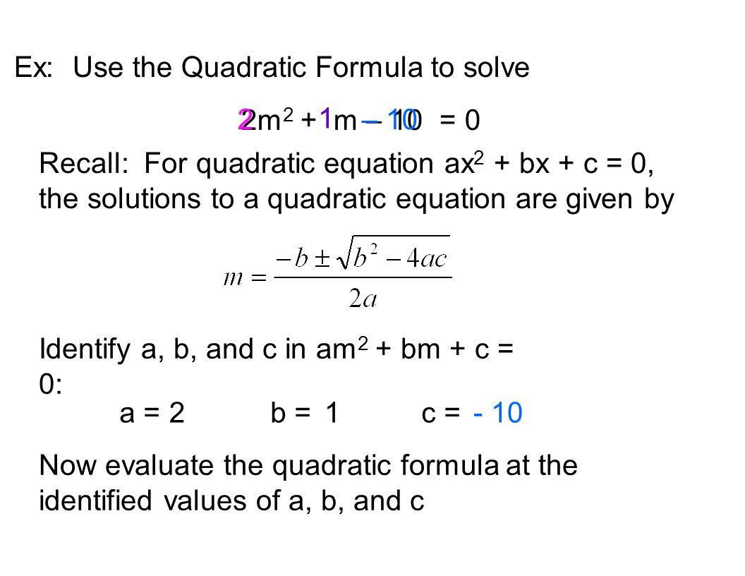 Basics A Quadratic Equation Is An Equation Equivalent To