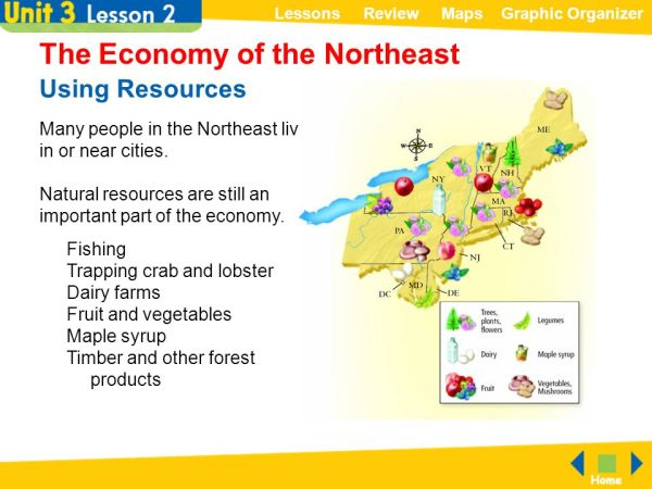 The Northeast Lessons Review Maps Graphic Organizer ppt