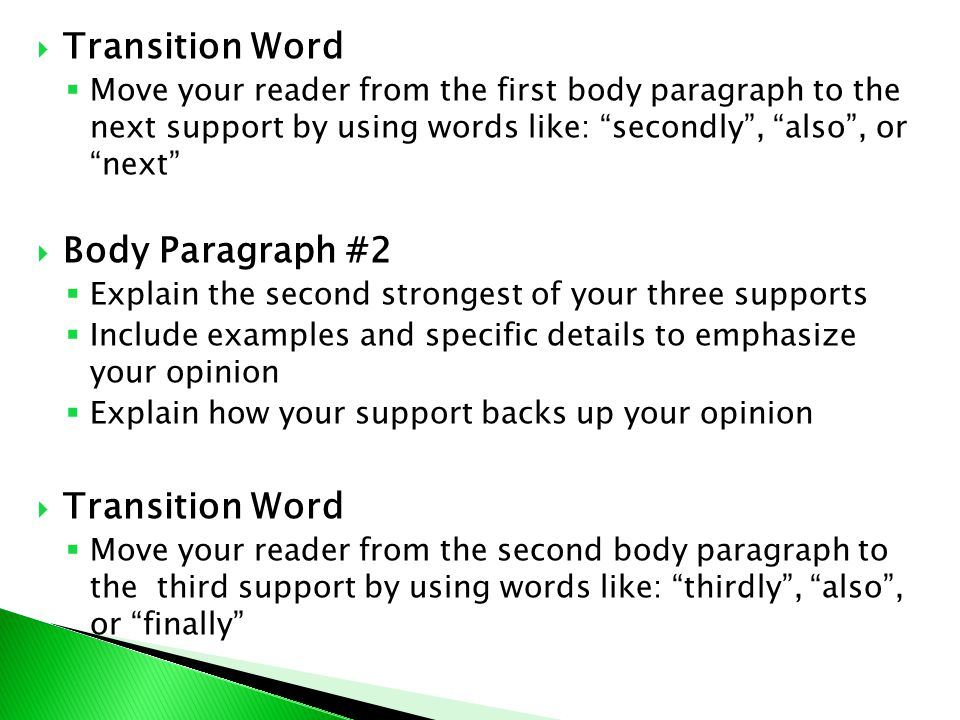 transition words for first body paragraph