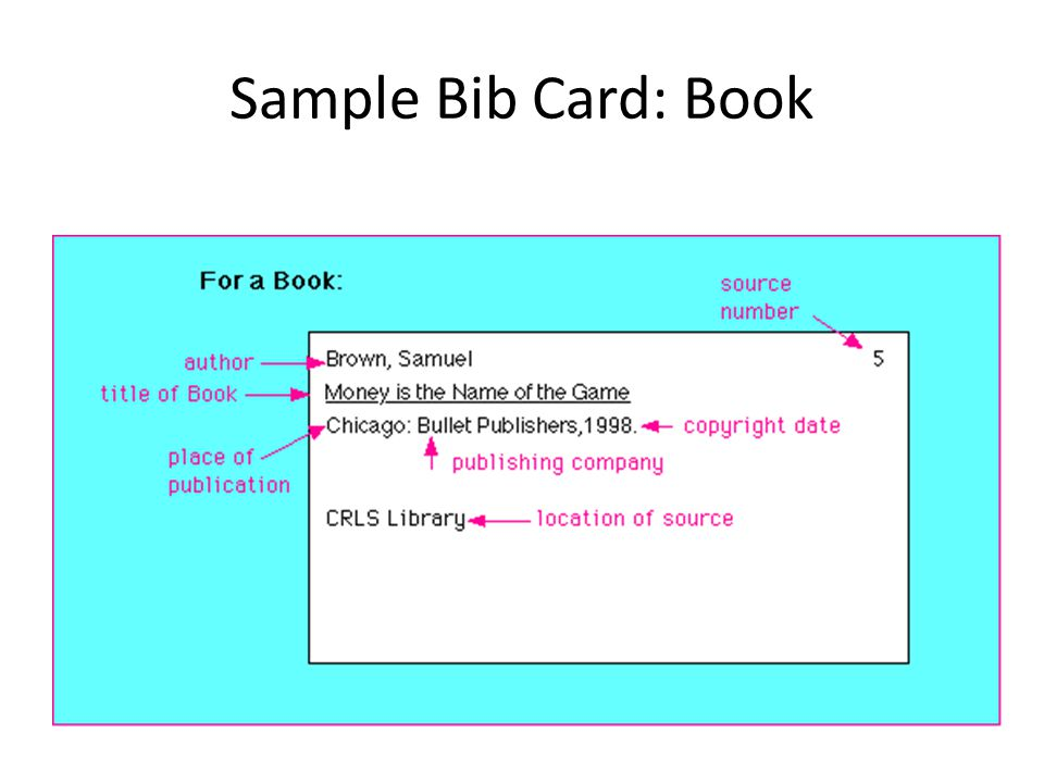 Note And Bib Card Format Ppt Video Online Download