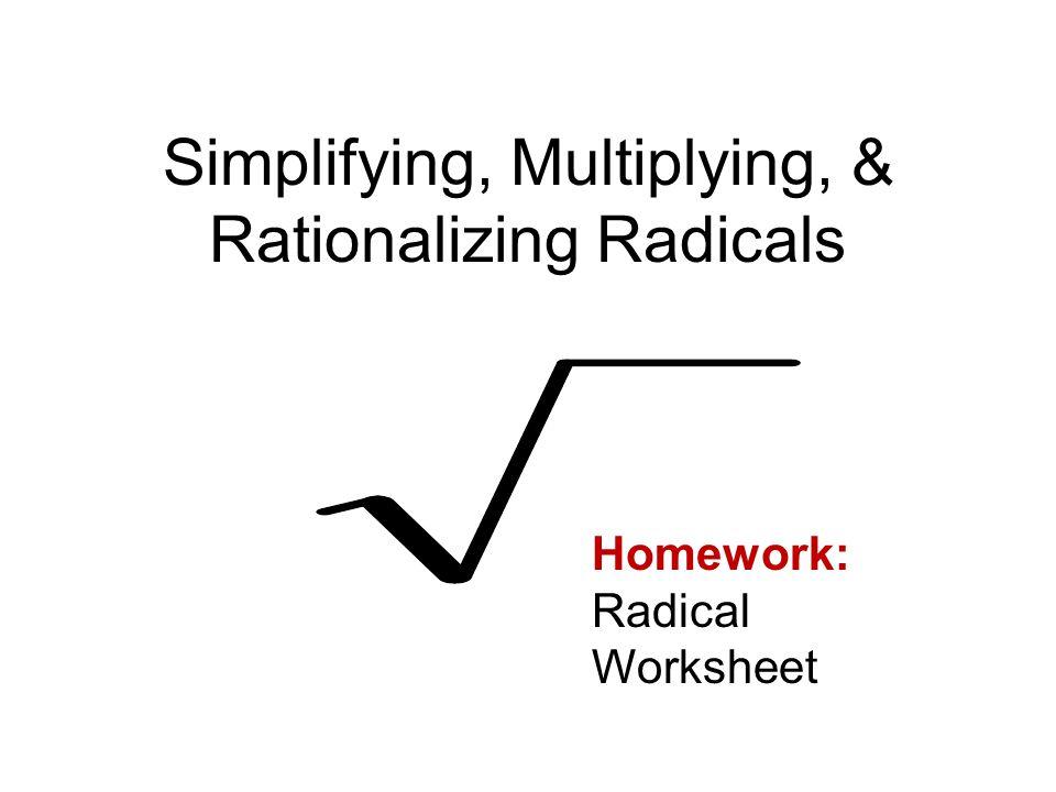 Printable Worksheets » Multiplying Radicals Worksheets