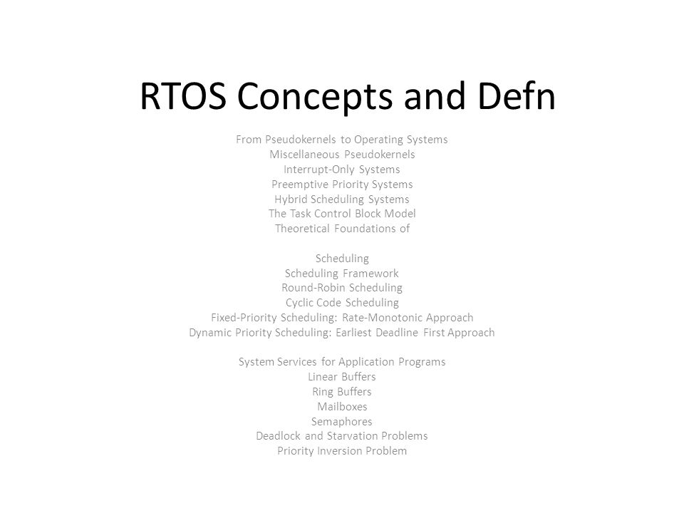 RTOS Concepts and Defn From Pseudokernels to Operating