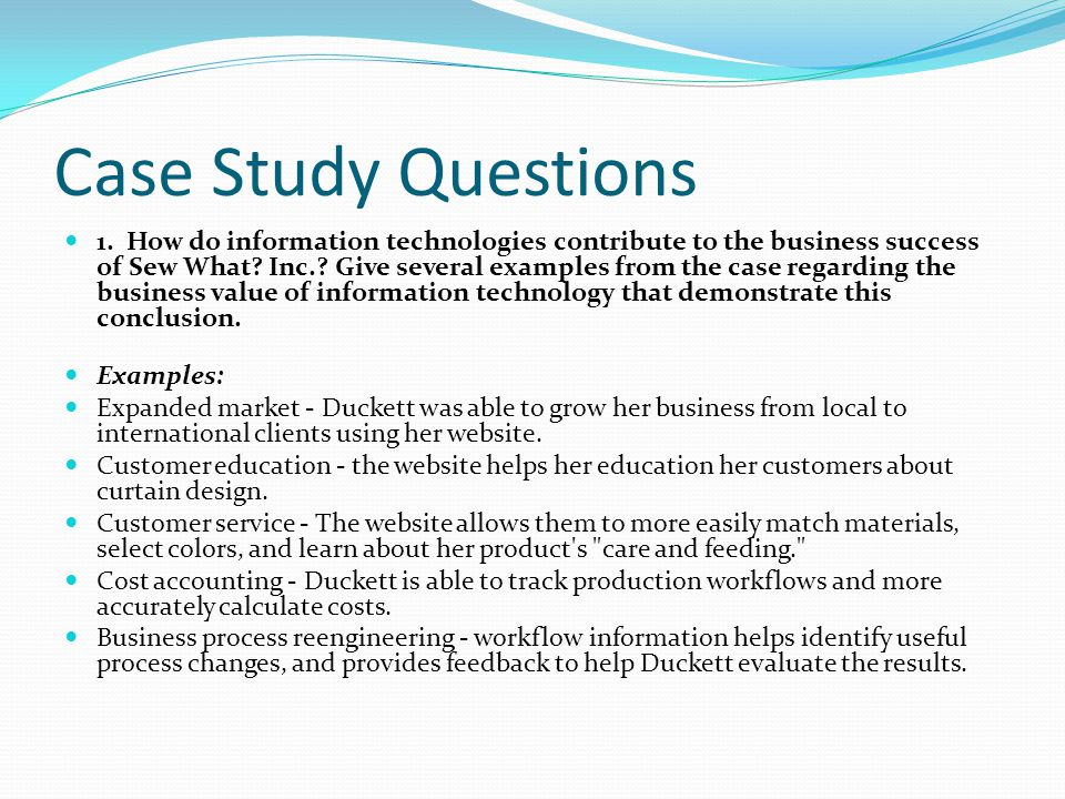 Written Case Study Interview Written Case