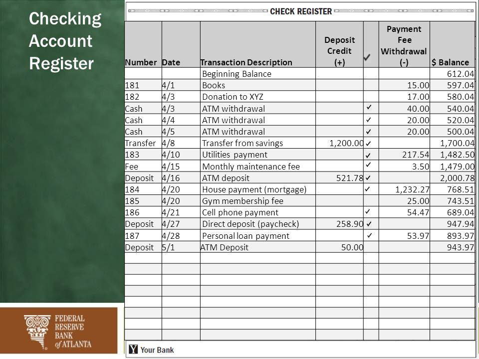 excel checking account register excel checkbook register template