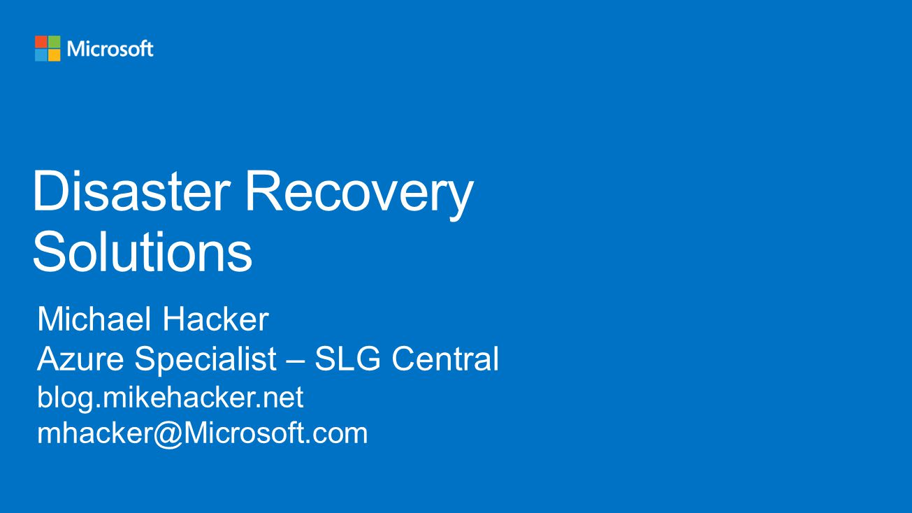 Disaster Recovery Solutions  ppt video online download