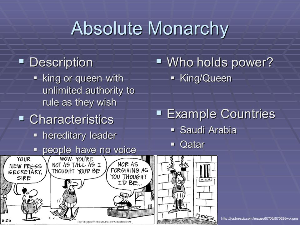 Absolute Monarchy Examples