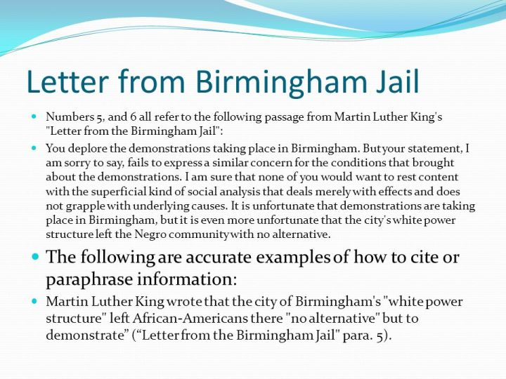 letter from brimingham jail analysis This piece is a summary of the letter from birmingham jail written by dr martin luther king jr on april 16, 1963 at the time king was extremely grieved by the way.