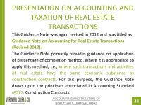 PRESENTATION ON ACCOUNTING AND TAXATION OF REAL ESTATE ...